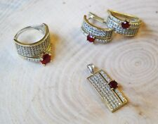 925 Sterling Silver Handmade Authentic Turkish Ruby Ladies Set