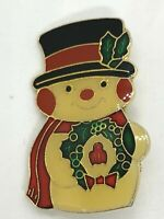 Vintage Gold Tone Enamel Christmas Snowman and Wreath Brooch Pin Jewelry