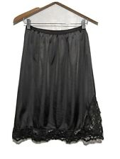 Vintage Lacy Black Nylon Half Slip Velrose L