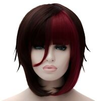 Brown Red Cosplay Wigs Women Short Neat Bangs Straight Party Hair Bob Haircut