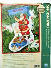 """CHECKING HIS LIST STOCKING Christmas Counted Cross Stitch Kit 16"""" long"""