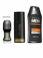 Avon Mens Personal Care Set Full Speed Body Spray, Roll On & Active 3in1 Shampoo