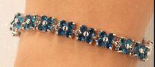14K White Gold 1.41 ct Diamond Womens Flower Bracelet 7 inch