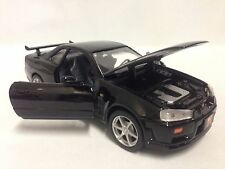 "2002 NISSAN SKYLINE GT-R COLLECTIBLES, 7.5"" DIECAST 1:24 , MOTORMAX TOYS, BLACK"