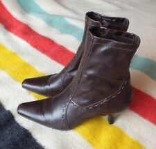Women's FRANCO SARTO Ankle Boots SZ 6 VG Cond Worn Once Brown Leather Zip Up