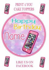 ND3 Girls Pink iphone treatment  birthday personalised round cake topper icing