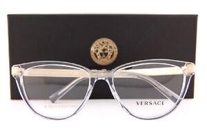 Brand New VERSACE Eyeglass Frames VE 3271 5305 Transparent Grey Women Size 54mm