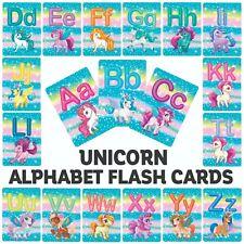 ABC Alphabet Children's Unicorn Flash Cards Kids Educational Pre School Learning