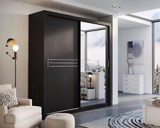 Brand New Modern Bedroom Sliding Door Mirror Wardrobe HAVANA 203cm Black Matt