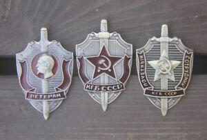 3 Pcs/Set URSS emblem NKVD KGB Soviet Russian Badge Medal