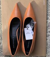 NWT ZARA WOMAN Mid-heel Leather Pointed Shoes size us 8