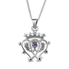 Scottish Luckenbooth Silver Pendant With Amethyst Colour Stone 0493