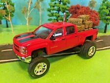 1/64 Custom Lifted Chevrolet Silverado Red & Black G5 Lift Kit, Riser Pipe, Hay