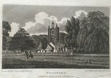 1807 Antique Print; St Mary's Church, South Woodford, London after William Ellis