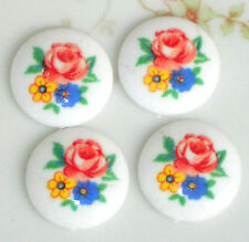 Vintage Cabochons 18mm Limoges Round Roses Rose Porcelain Flowers  NOS #1375A
