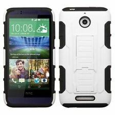 For HTC Desire 510 White Black Hard Silicone Hybrid Plastic Case w/stand