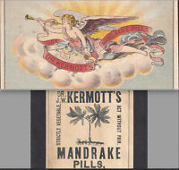 Dr Kermotts Mandrake Pills Victorian Angel Sick Headache Cure Trade Card