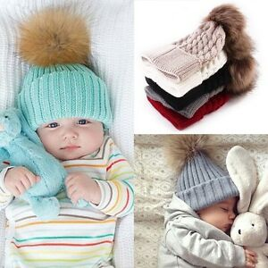 Newborn Baby Boy Girl Fur Pom Bobble Cap Winter Knit Crochet Hairball Beanie Hat