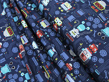 Jersey Little Darling colorful robots on blue cotton knit fabric 0.54yd (0.5m)