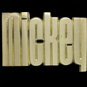 Mickey Mick Name Retro Hippie Western Messing 1970s Nummern Neue Gürtel Schnalle