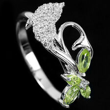 Natural PERIDOT Birthstone & CUBIC ZIRCONIA 925 STERLING SILVER Dolphin RING 7.0