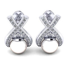 3.05CT 14KT White Gold Natural Freshwater Pearl EGL Certified Diamond Studs