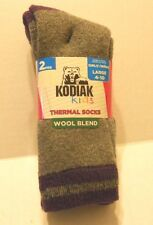 Girls Socks Shoe Size Large 4-10 Thermal Wool Blend Charcoal Purple