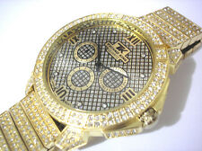Iced Out Bling Bling Big Case Hip Hop Techno King Men's Watch Gold Item 3864