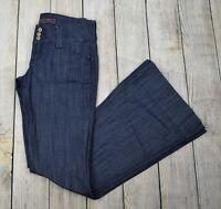 Divine Rights of Denim Women Flare Leg Jeans Pant Low Rise Blue Size 27 Distress