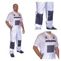 Bib and Brace Overalls Painters Decorators Work Trousers Pants Cotton White UK.