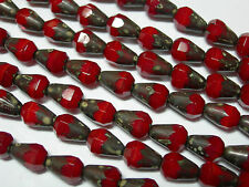 18 Czech Glass Red Silk Travertine Faceted Teardrop Beads 8x6mm