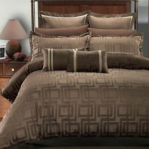 Royal Hotel Janet Jacquard 7 PC Duvet Cover 100% Luxury Brown Geometric Bedding