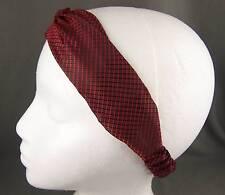 """Dark Red Black textured fabric turban twist stretch headband 1.75"""" wide turband"""
