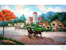 Street Scene 24x36 Art Philippines Oil Painting