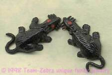 Funky Gothic Mini BLACK RATS MICE EARRINGS Mouse Novelty Zombie Costume Jewelry