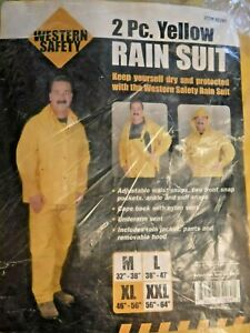 """Western Safety 2 Piece Yellow Rain Suit  Mens Size XL  46""""-56"""""""