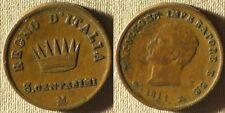 Italy State :Kingdom Of Napoleon 1811M 3 Ct Vf+ Struck Thru Fabric #22 Ir7683