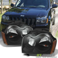 Black 2005 2006 2007 Jeep Grand Cherokee Replacement Headlights Lamps Left+Right