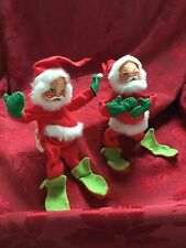 Exquisite RARE Annalee Mobilitee (c)1971 Pair Vintage SANTAS Christmas Ornaments