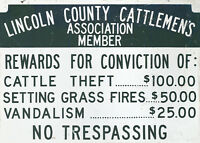 """LINCOLN COUNTY CATTLEMEN'S ASSOCIATION"" NOTICE SIGN"
