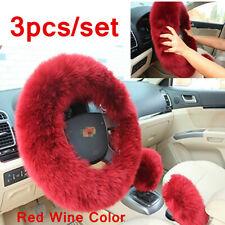 Winter 3x Car Furry Wool Steering Wheel Gear Knob Shifter Brake Protector Cover