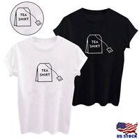 Womens Tea Shirt Short Sleeve Funny T-shirt Summer Harajuku Tops Graphic Tees US