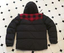 PENFIELD DOWN FILL PUFFER JACKET w HOOD BLACK & RED CHECK BUFFALO PLAID S/M