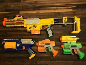 BUNDLE LOT 4 NERF GUNS & LASER SCOPE, ALL WORKING EXCELLENT CONDITION