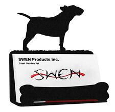Swen Products Bull Terrier Dog Black Metal Business Card Holder