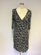 COAST BLACK & WHITE PRINT STRETCH WRAP ACROSS DRESS SIZE 12