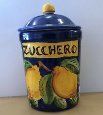 Vietri Pottery-16 OZ.Sugar Container Lemon Pattern.Made/Painted by hand in Italy