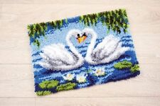 "Swan Pair Latch Hook Rug Kit - 22"" x 16"" - Free UK P&P"