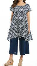 BRYN WALKER Winn Geometric Print Handkerchief Hem Blue Ivory Tunic Dress S