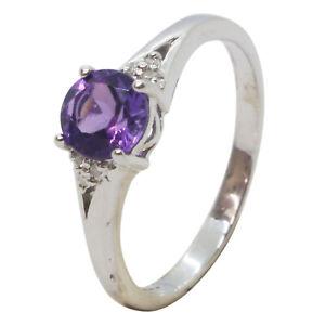 9ct White Gold Round Purple Amethyst Gemstone & Diamonds Engagement Ring